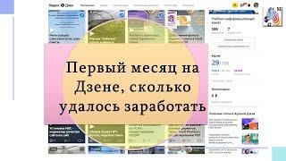 Первый месяц на Яндекс Дзен, доход, статистика